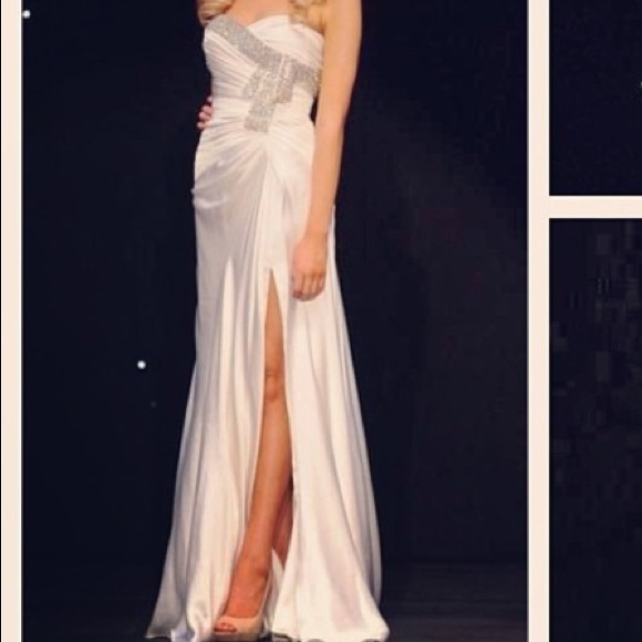 Dresses | White Silky Strapless Beaded Pageant Gown | Poshmark